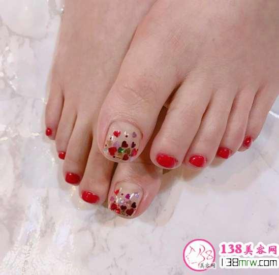红色脚指甲美甲图片 款款都吸晴